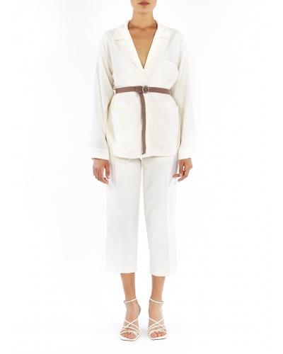 Belted jacket in silk
