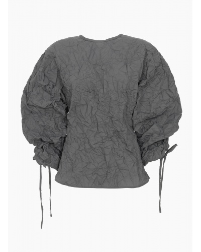 Pleated shirt with drawstring